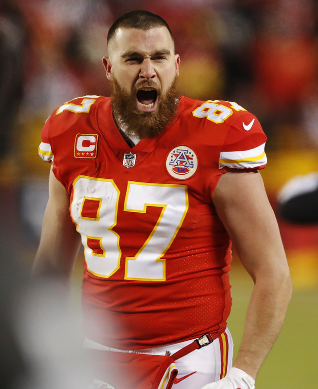 . Kansas City Chiefs tight end Travis Kelce shouts on the sideline during the second half of the AFC Championship NFL football game against the New England Patriots, Sunday, Jan. 20, 2019, in Kansas City, Mo. (AP Photo/Charlie Neibergall)