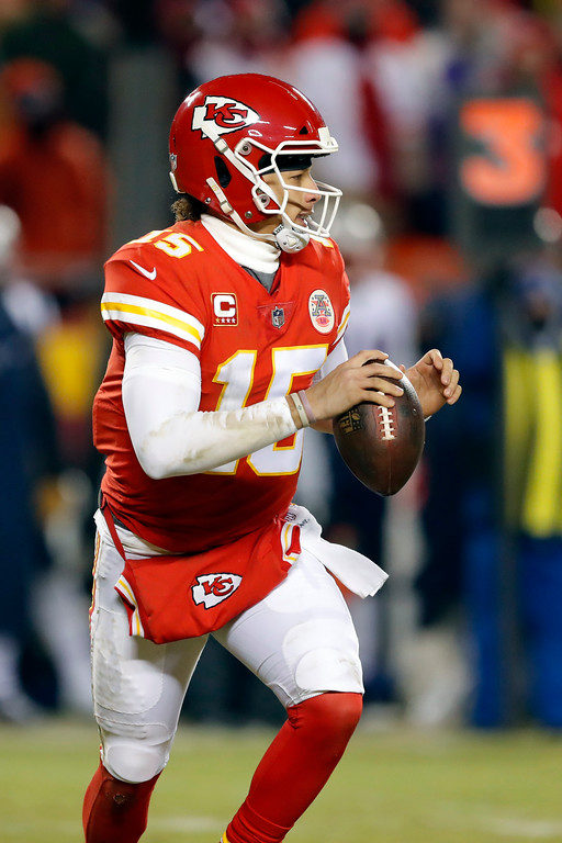 . Kansas City Chiefs quarterback Patrick Mahomes (15) during the second half of the AFC Championship NFL football game, Sunday, Jan. 20, 2019, in Kansas City, Mo. (AP Photo/Charlie Neibergall)