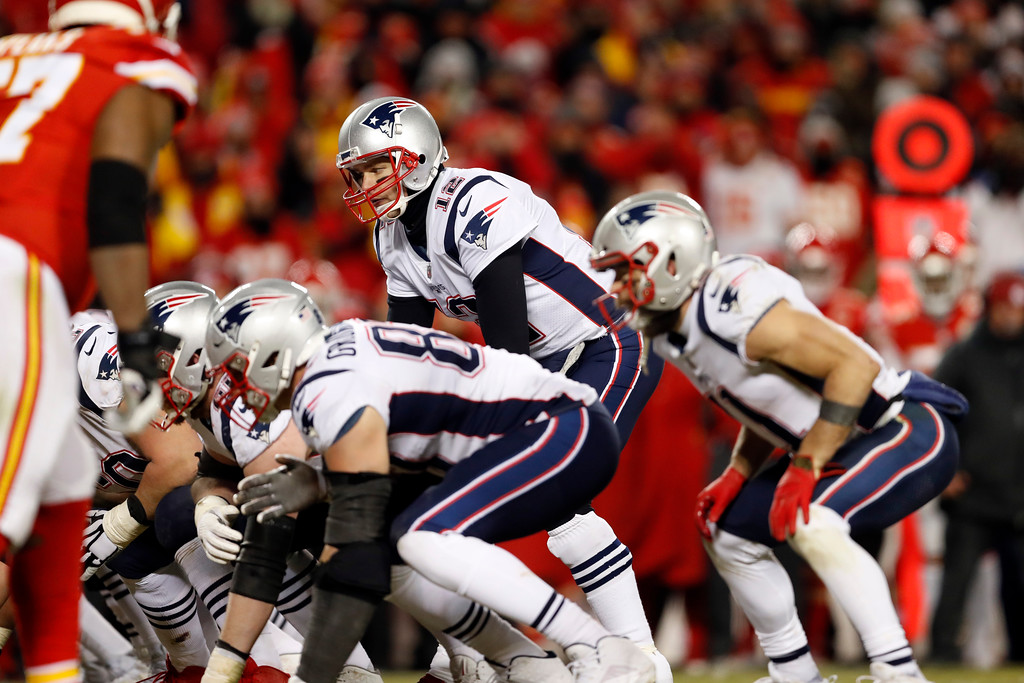 . New England Patriots quarterback Tom Brady (12) during the second half of the AFC Championship NFL football game, Sunday, Jan. 20, 2019, in Kansas City, Mo. (AP Photo/Jeff Roberson)