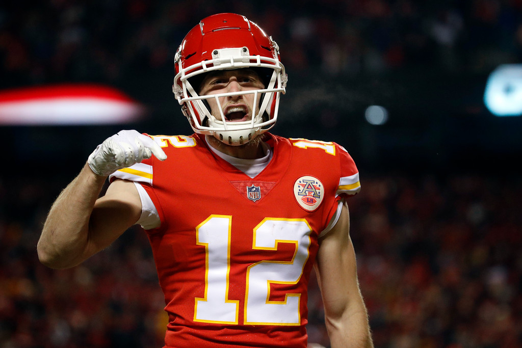. Kansas City Chiefs wide receiver Gehrig Dieter (12) reacts on a play during the second half of the AFC Championship NFL football game against the New England Patriots, Sunday, Jan. 20, 2019, in Kansas City, Mo. (AP Photo/Charlie Riedel)