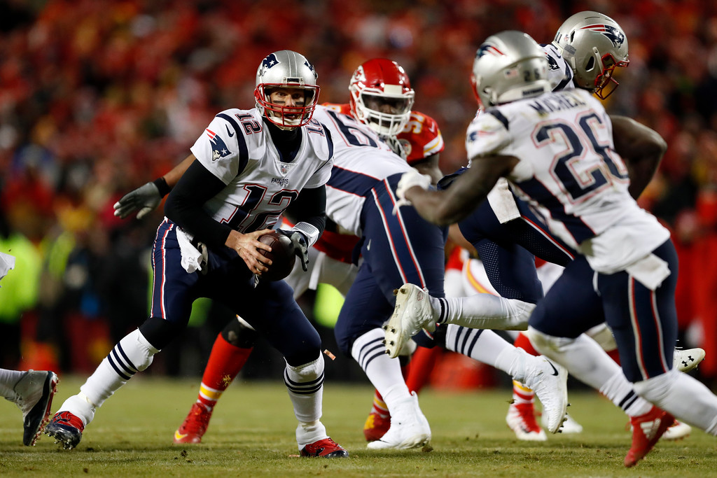 . New England Patriots quarterback Tom Brady (12) during the first half of the AFC Championship NFL football game, Sunday, Jan. 20, 2019, in Kansas City, Mo. (AP Photo/Jeff Roberson)