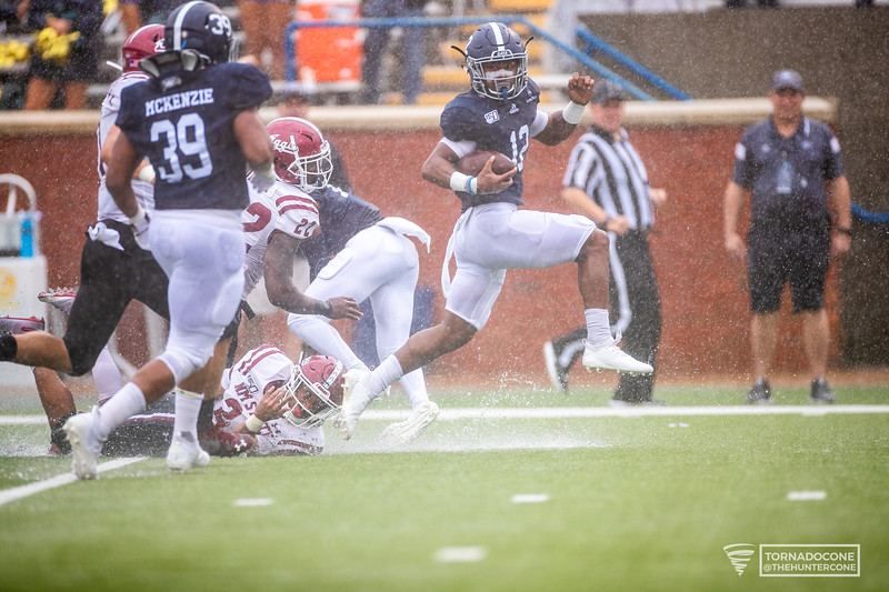 Georgia Southern runningback Wesley Kennedy III runs past the entire Aggies defense to score the first touchdown of the day for Georgia Southern on Saturday, Oct 26 at Paulson.            [Hunter Cone / for Savannahnow.com]