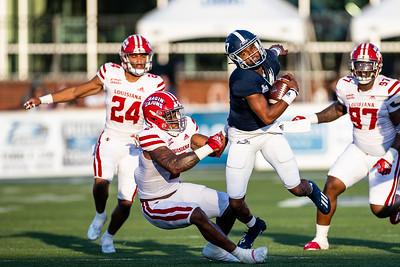 Louisiana linebacker #2. Lorenzo McCaskill sacks Georgia Southern Quarterback #17 Justin Tomlin.                           Photo by Hunter D. Cone for The Advocate]