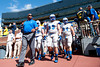 Sep 8, 2012; Ann Arbor, MI, USA; Air Force Falcons defensive linemen Nick DeJulio (89) and Cody Miller (94) take the field with teammates before the game against the Michigan Wolverines at Michigan Stadium. Mandatory Credit: Tim Fuller-Air Force Academy Athletics