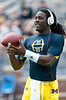 Sep 8, 2012; Ann Arbor, MI, USA;  Michigan Wolverines quarterback Denard Robinson (16) warms up before the game against the Air Force Falcons at Michigan Stadium. Mandatory Credit: Tim Fuller-Air Force Academy Athletics
