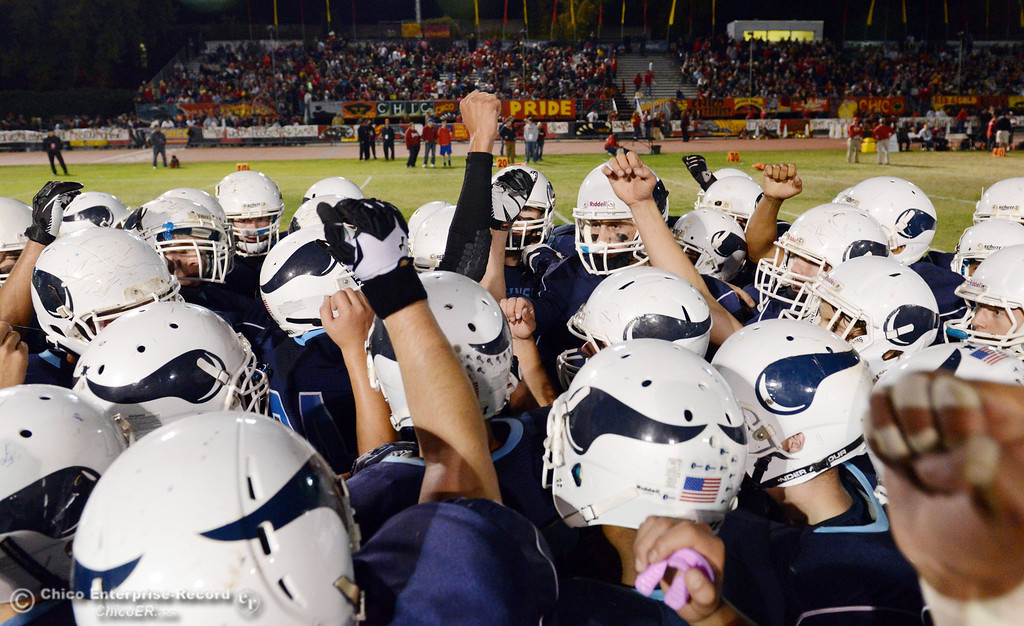 . Pleasant Valley High gets ready against Chico High in the first quarter of their Almond Bowl football game at CSUC University Stadium Friday, November 1, 2013 in Chico, Calif.  (Jason Halley/Chico Enterprise-Record)