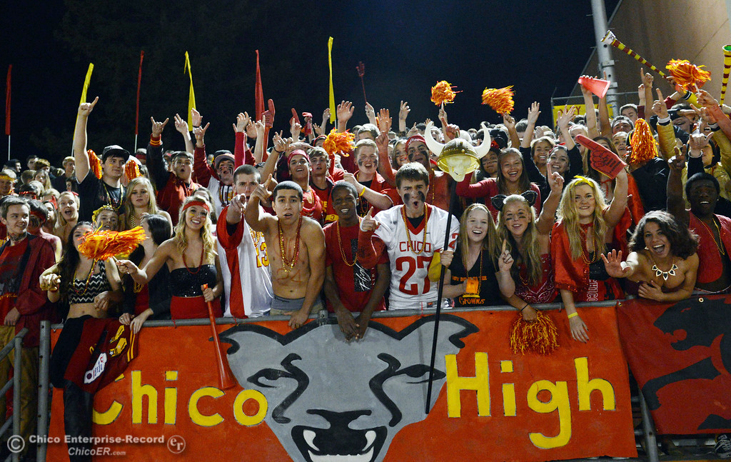 . Chico High fans cheer on against Pleasant Valley High in the first quarter of their Almond Bowl football game at CSUC University Stadium Friday, November 1, 2013 in Chico, Calif.  (Jason Halley/Chico Enterprise-Record)