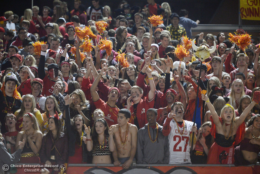 . Chico High fans cheer on against Pleasant Valley High in the fourth quarter of their Almond Bowl football game at CSUC University Stadium Friday, November 1, 2013 in Chico, Calif.  (Jason Halley/Chico Enterprise-Record)