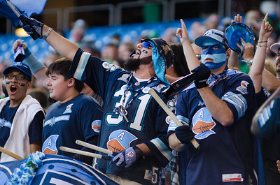 TORONTO, Ont. (11/07/2013) - Toronto Argonauts fans cheer for their team against the Saskatchewan Roughriders Thursday night at the Rogers Centre in Toronto.  The Argonauts lost to the Roughriders 39-28.  Photo by Alicia Wynter