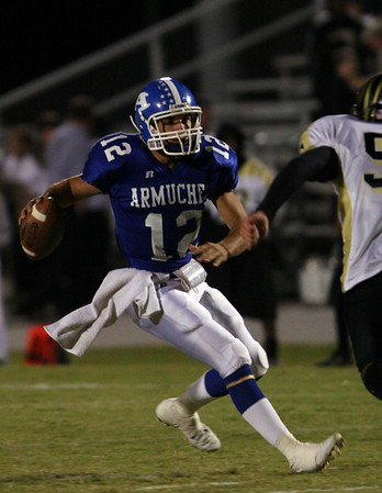 Armuchee quarter back #12 Will Wiggins caught from behind by Temple defender #50 Jake Shirley