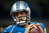 Dec 22, 2012; Detroit, MI, USA; Detroit Lions quarterback Matthew Stafford (9) warms up before the game against the Atlanta Falcons at Ford Field. Mandatory Credit: Tim Fuller-USA TODAY Sports