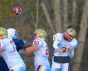 110312, Westwood, MA - Boston College High School's Brendan Craven (3) fires a pass downfield during Saturday's game against Xaverian. Herald photo by Ryan Hutton