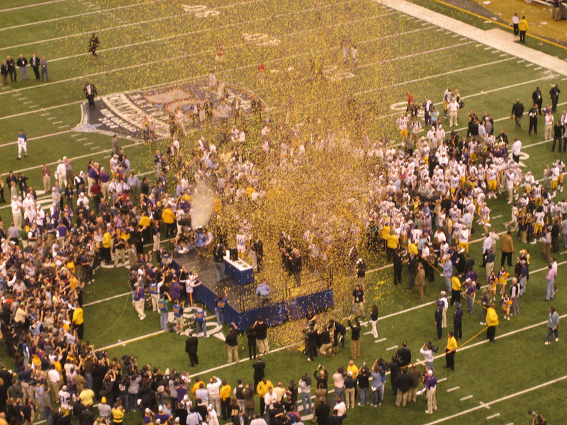 Confetti cannon goes off on the presentation stand