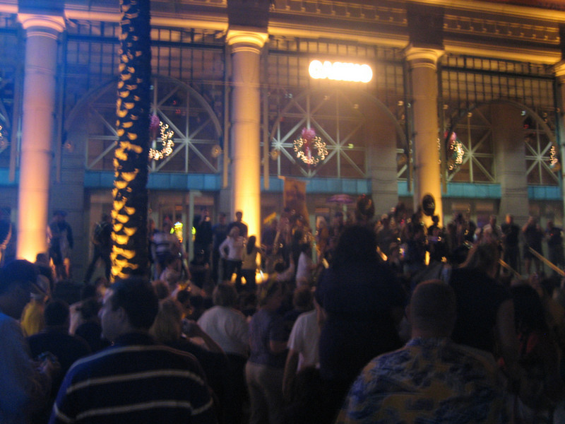The LSU Alumni Band featuring the Bucktown AllStars assemble on the back steps of Harrah's
