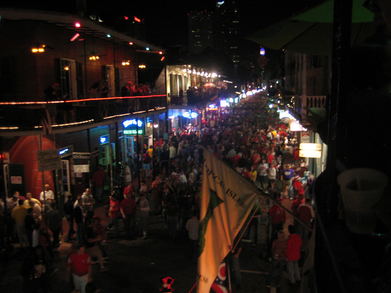 Bourbon Street the night before the game from Tropical Isle's balcony party