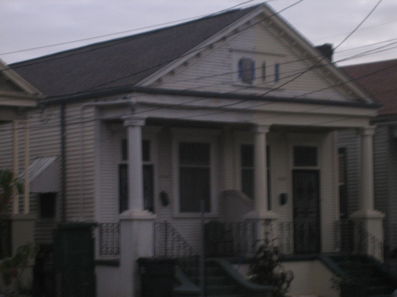 The shotgun double across the street from Duck's house. Apparently two brothers live there but hate each other. One painted the house right down the middle (the right hand side)