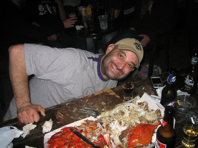 Destroying 5 pounds of crawfish, a half-dozen crabs, and of course the obligatory Jagermeister and brews.