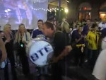 Fat City Drum Corps joins LSU Alumni Band gathers up for the 2nd-line to through the Quarter
