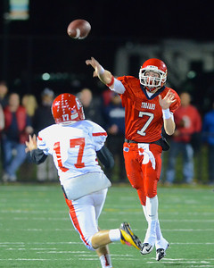 110212, Bridgewater, MA - Bridgewater-Raynham quarterback Jordan Cohen (7) fires a pass over the head of Barnstable's Dakota Perilli (17). Herald photo by Ryan Hutton