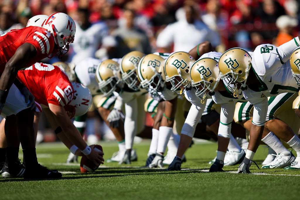 25 October 2008: Baylor's defensive line at the Nebraska game.  The Cornhuskers beat Baylor 32-20 at Memorial Stadium in Lincoln, Nebraska.
