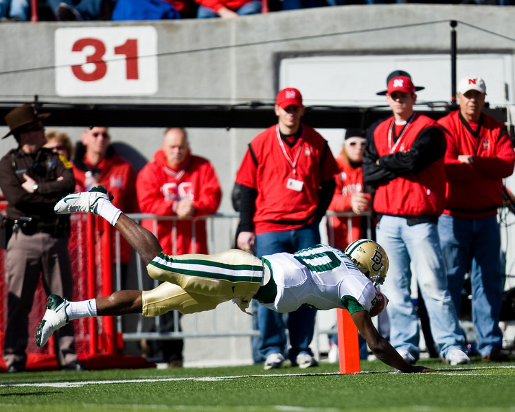25 October 2008: Baylor quarterback Robert Griffin dives into the endzone at the end of a 47-yard touchdown run in the 1st quarter against Nebraska.  The Cornhuskers beat Baylor 32-20 at Memorial Stadium in Lincoln, Nebraska.
