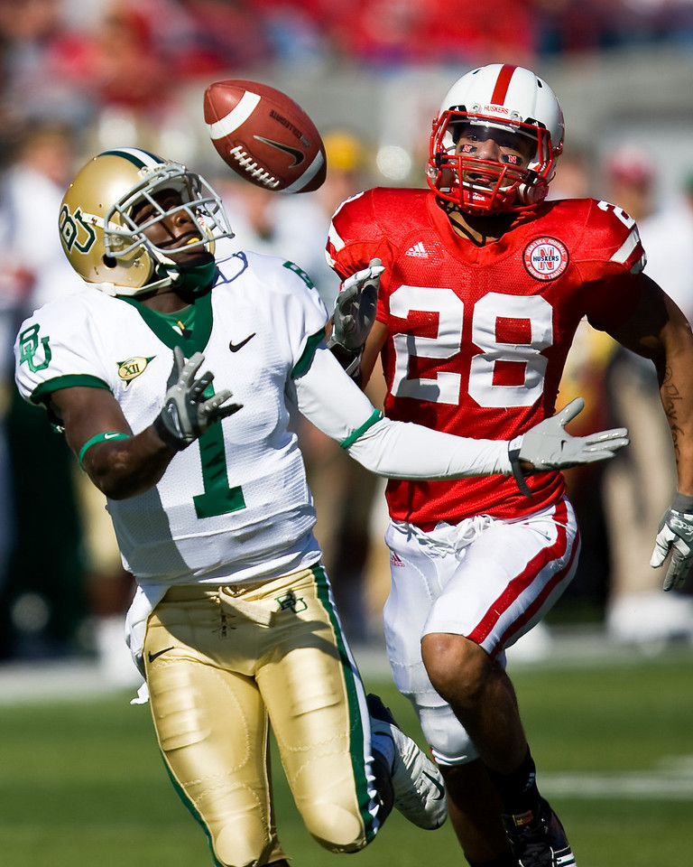 25 October 2008: Baylor receiver Kendall Wright tries to haul in a pass from quarterback Robert Griffin.  The Cornhuskers beat Baylor 32-20 at Memorial Stadium in Lincoln, Nebraska.