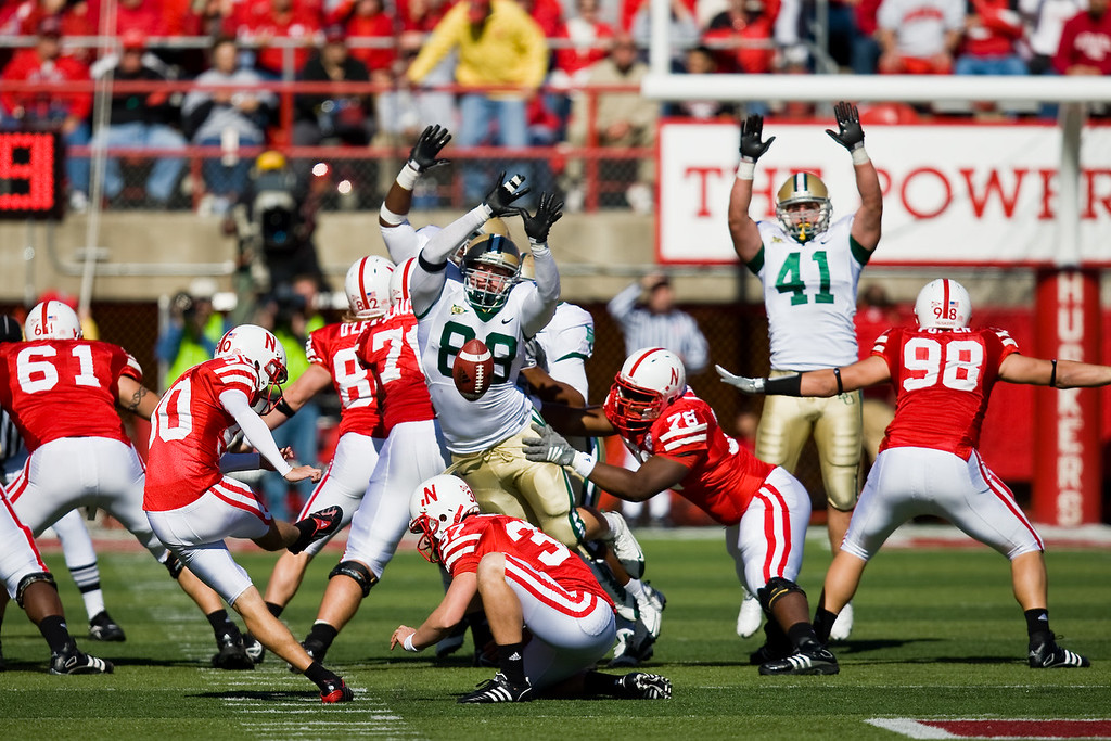 25 October 2008: Baylor defensive end Jason Lamb blocks a field goal attempt by Nebraska kicker  Alex Henery.  The Cornhuskers beat Baylor 32-20 at Memorial Stadium in Lincoln, Nebraska.