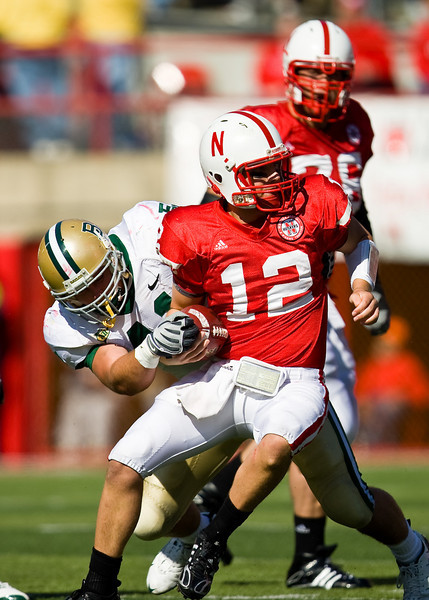 25 October 2008: Baylor line backer Joe Pawelek tries to strip the ball from Nebraska quarterback Joe Ganz.  The Cornhuskers beat Baylor 32-20 at Memorial Stadium in Lincoln, Nebraska.