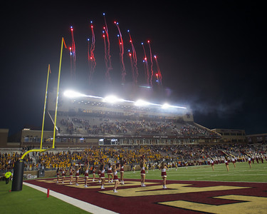 090613, Newton, MA - Fireworks kick off Friday night's game where Boston College hosted Wake Forest. Herald photo by Ryan Hutton