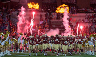 090613, Newton, MA - The Boston College Eagles take the field at the start of their game against Wake Forest on Friday night. Herald photo by Ryan Hutton