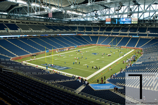 Aug 30, 2012; Detroit, MI, USA; A general view of Ford Field as players warm up before the preseason game between the Detroit Lions and the Buffalo Bills. Mandatory Credit: Tim Fuller-US PRESSWIRE