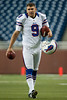 Aug 30, 2012; Detroit, MI, USA; Buffalo Bills place kicker Rian Lindell (9) before the preseason game against the Detroit Lions at Ford Field. Mandatory Credit: Tim Fuller-US PRESSWIRE