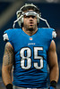 Aug 30, 2012; Detroit, MI, USA; Detroit Lions tight end Tony Scheffler (85) before the preseason game against the Buffalo Bills at Ford Field. Mandatory Credit: Tim Fuller-US PRESSWIRE