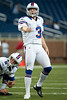 Aug 30, 2012; Detroit, MI, USA; Buffalo Bills place kicker John Potter (3) warms up before the preseason game against the Detroit Lions at Ford Field. Mandatory Credit: Tim Fuller-US PRESSWIRE