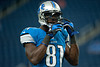 Aug 30, 2012; Detroit, MI, USA; Detroit Lions wide receiver Calvin Johnson (81) before the preseason game against the Buffalo Bills at Ford Field. Mandatory Credit: Tim Fuller-US PRESSWIRE