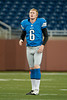 Aug 30, 2012; Detroit, MI, USA; Detroit Lions punter Ryan Donahue (6) warms up before the preseason game against the Buffalo Bills at Ford Field. Mandatory Credit: Tim Fuller-US PRESSWIRE