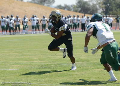 Alex Laurel rushes for a touchdown as Butte College plays its home opener Saturday, Sept. 10, 2016, against Laney College at Cowan Stadium in Butte Valley, California. (Dan Reidel -- Enterprise-Record)