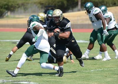 Zane Ventimiglia as Butte College plays its home opener Saturday, Sept. 10, 2016, against Laney College at Cowan Stadium in Butte Valley, California. (Dan Reidel -- Enterprise-Record)