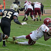 Sierra College receiver Brandon Aiyuk (4) catches a pass for a two-point cenversion with Tyree Spearman (35) defending, but it's not enough as Butte College beats Sierra College at football Saturday, Oct. 29, 2016, in Chico, California. (Dan Reidel -- Enterprise-Record)