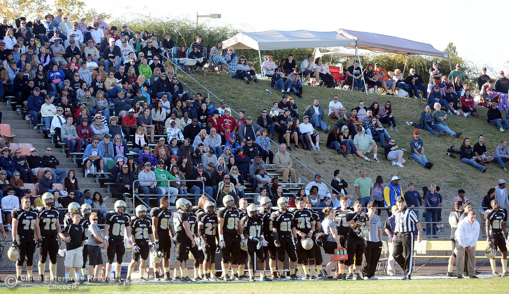 . Butte College fans fill the stands against City College of San Francisco in the third quarter of their football game at Butte\'s Cowan Stadium Saturday, November 16, 2013 in Butte Valley, Calif.  (Jason Halley/Chico Enterprise-Record)