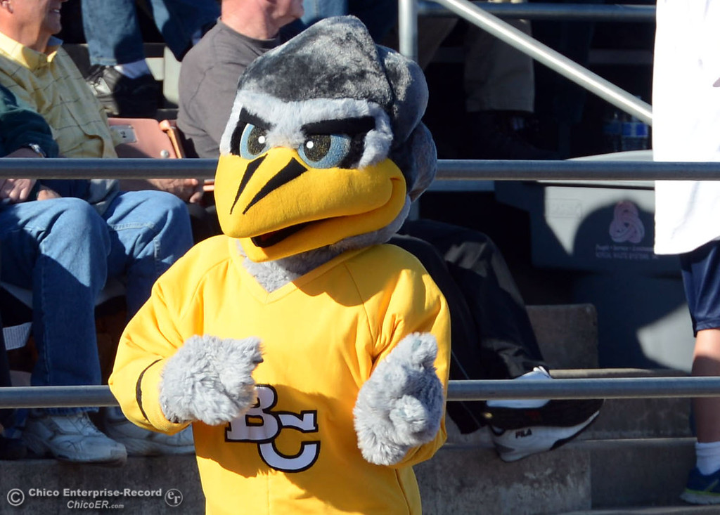. Butte College roadrunner came out against Fresno City College in the second quarter of their football game at Butte\'s Cowan Stadium Saturday, November 30, 2013 in Butte Valley, Calif.  (Jason Halley/Chico Enterprise-Record)