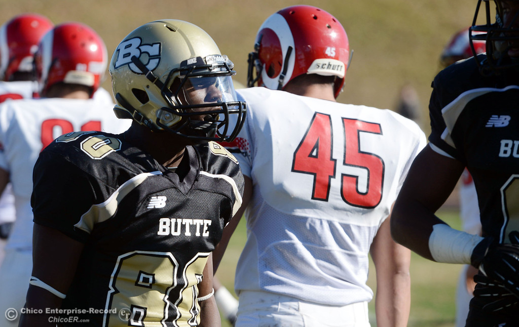 . Butte College\'s #80 Jerome Mayfield looks on against Fresno City College in the first quarter of their football game at Butte\'s Cowan Stadium Saturday, November 30, 2013 in Butte Valley, Calif.  (Jason Halley/Chico Enterprise-Record)