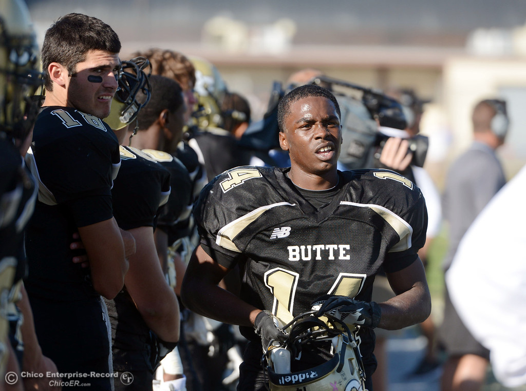 . Butte College\'s #14 Robert Frazier looks on against College of San Mateo in the fourth quarter of their football game at Butte\'s Cowan Stadium Saturday, November 2, 2013 in Oroville, Calif.  (Jason Halley/Chico Enterprise-Record)
