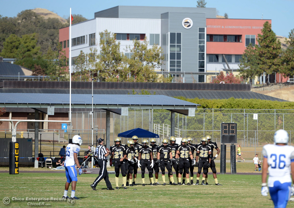 . Butte College ready a kickoff against College of San Mateo in the second quarter of their football game at Butte\'s Cowan Stadium Saturday, November 2, 2013 in Oroville, Calif.  (Jason Halley/Chico Enterprise-Record)