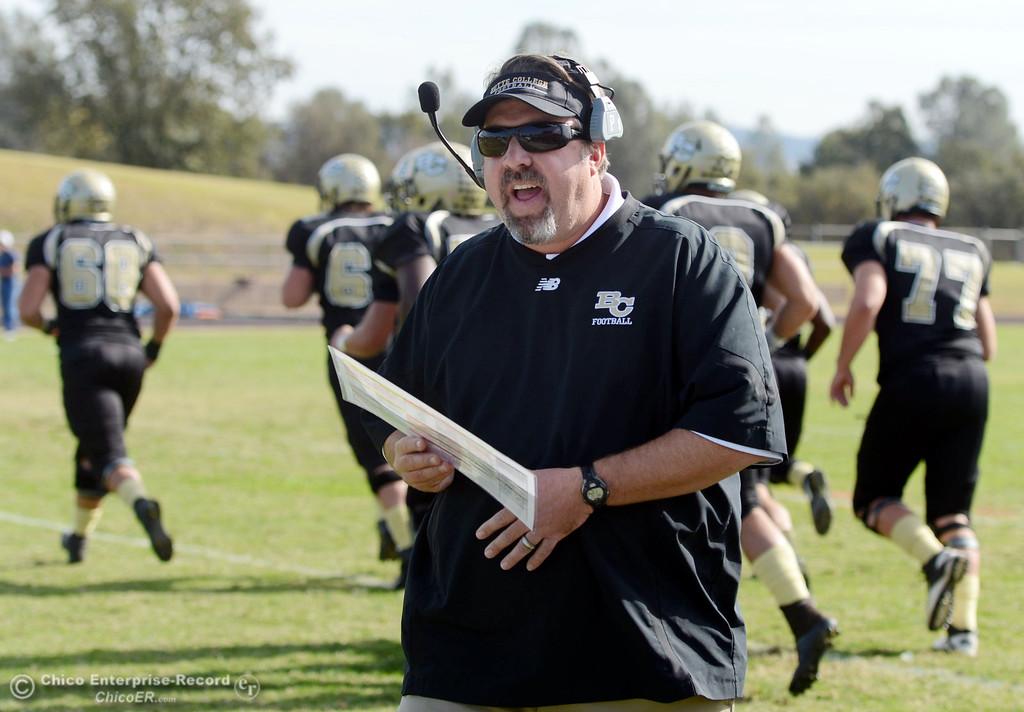 . Butte College head coach Jeff Jordan looks on against San Mateo College in the first quarter of their football game at Butte\'s Cowan Stadium Saturday, November 2, 2013 in Oroville, Calif.  (Jason Halley/Chico Enterprise-Record)
