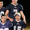 Farmersville Quarterback Sam Metcalf (7) and WB Joseph DeLaCruz (15) pose for pictures after the Aztec's 47-35 win over the Strathmore Spartans.
