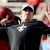 Aug 5, 2012; Canton, OH, USA; New Orleans Saints quarterback Drew Brees (9) warms up before the preseason game against the Arizona Cardinals at Fawcett Stadium. Mandatory Credit: Tim Fuller-US PRESSWIRE