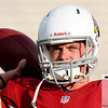 Aug 5, 2012; Canton, OH, USA; Arizona Cardinals quarterback Kevin Kolb (4) warms up before the preseason game against the New Orleans Saints at Fawcett Stadium. Mandatory Credit: Tim Fuller-US PRESSWIRE