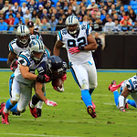 2012 October 07: (81) Golden Tate, WR gets takens down by (59) Luke Kuechly, Linebacker during the Seattle Seahawks at Carolina Panthers Bank Of America Stadium in Charlotte, NC.