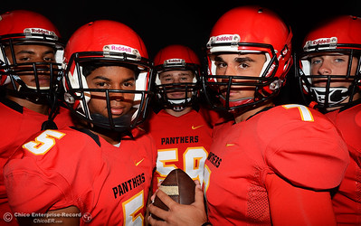 Left to right, D.J. Miller, Kelly Jackson, Bryan Kelley, Cole Walker and Blayn Gieg are ready to start the high school football season Saturday, Aug. 13, 2016, for the Chico Panthers during a photo shoot at the Enterprise-Record in Chico, California. (Dan Reidel -- Enterprise-Record)